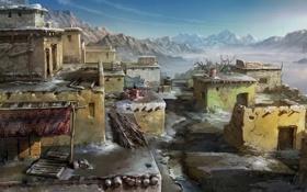 Картинка холод, зима, снег, горы, деревня, арт, навес