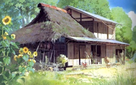 Картинка подсолнухи, пейзаж, дом, арт, pom poko