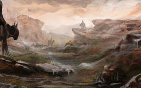 Картинка животные, трава, люди, скалы, кони, арт, поход