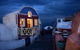 Обои ночь, дом, вечер, Санторини, Греция