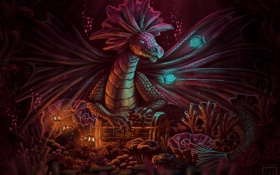 Обои рыбки, дракон, существо, арт, под водой, сокровище