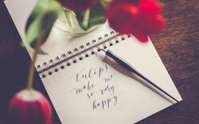 Обои цветок, красный, текст, надпись, тюльпан