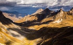 Обои небо, горы, тучи, природа, долина, горный хребет