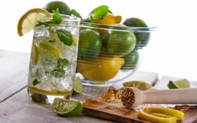 Обои лимон, коктейль, сахар, лайм, напиток, мохито