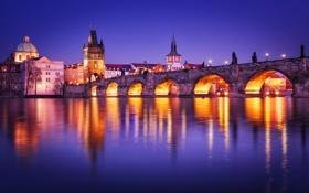 Обои вода, свет, город, огни, отражение, река, вечер