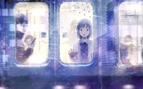 Обои окно, очки, вагон, Девочка, парень, пассажиры