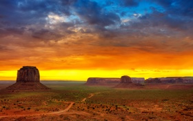 Обои небо, пустыня, сша, юта, долина монументов