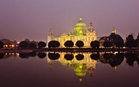 Картинка ночь, Индия, освещение, мемореал Виктория, калькутта