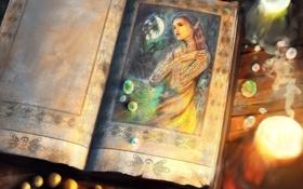 Картинка девушка, луна, эльф, свечи, фэнтези, арт, бусы