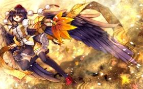 Картинка листья, девушка, крылья, арт, touhou, shameimaru aya, capura lin
