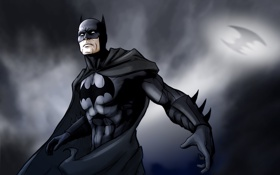 Обои тучи, темнота, batman, знак, бэтмен, костюм