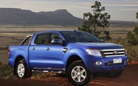 Картинка double cab, синий, небо, ranger, форд, передок, пикап