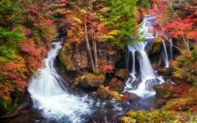 Картинка осень, пейзаж, река, водопад