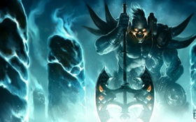 Обои оружие, монстр, арт, колонны, кристаллы, топор, League of Legends