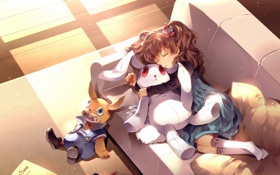 Картинка сон, солнце, спит, spawn, подушка, игрушки, кролик