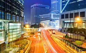 Картинка ночь, город, фото, дороги, дома, Гонконг, фонари
