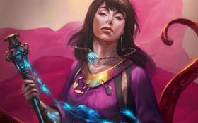 Картинка кристалл, девушка, магия, фэнтези, арт, посох, Mazert Young