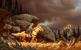 Картинка камни, лошадь, скалы, пейзаж, лес, ковбой, человек