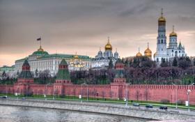 Обои церковь, Москва, храм, Кремль, набережная, столица, Кремлёвская стена