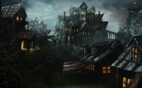 Обои замок, фантастика, дома, арт, зелень, ночь, человек
