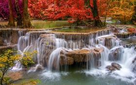 Картинка осень, вода, природа, река, камни, водопад, красиво