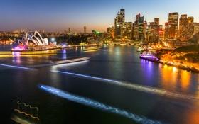 Обои ночь, огни, дома, Австралия, Сидней, трассы, оперный театр