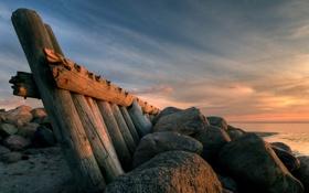 Картинка море, небо, вода, облака, природа, камни, берег