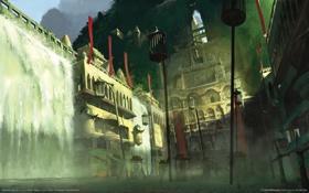 Обои город, туман, здания, водопад, клетки, дымка, heavenly sword
