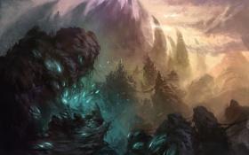 Обои горы, замок, скалы, арт, цепи, zyxlx