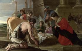 Обои The Adoration of the Shepherds, Братья Ленен, картина