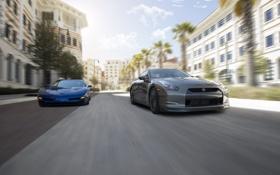 Обои улица, в движении, ниссан, корвет, chevrolet corvette, nissan gt-r