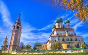 Обои церковь, купола, колокольня