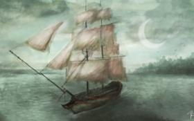 Картинка море, небо, тучи, луна, корабль, арт, паруса
