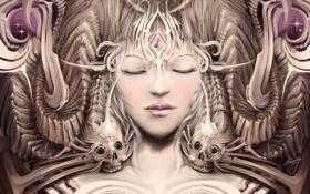 Обои девушка, лицо, череп, арт, кости, закрытые глаза