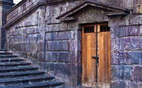 Обои стена, камень, дверь, ступени