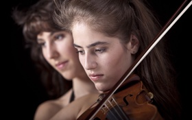 Обои orchestra, violin, girl