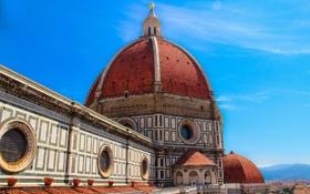 Обои небо, Италия, Флоренция, купол, Дуомо, собор Санта-Мария-дель-Фьоре, вид с колокольни Джотто