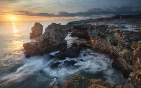 Обои water, rock, sun, ocean, cloud
