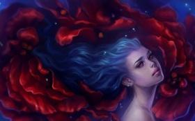 Обои девушка, волосы, арт, синие, art