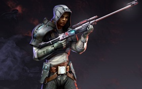 Обои оружие, арт, мужчина, star wars, винтовка, bioware, imperial agent