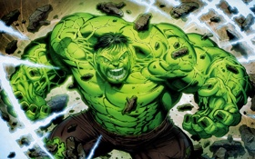 Картинка зеленый, фантастика, ярость, разруха, халк, marvel, hulk