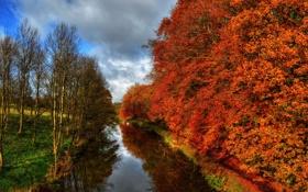 Обои река, hdr, осень, Англия