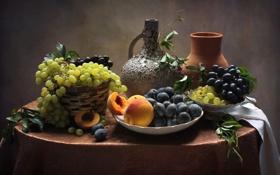 Обои виноград, кувшин, натюрморт, персики, сливы
