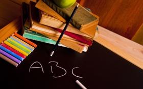 Обои буквы, фон, обои, настроения, книги, яблоко, wallpaper