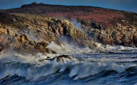 Обои море, волны, пена, вода, капли, шторм, скала