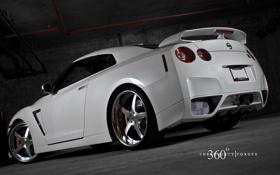 Обои белый, Nissan, white, GT-R, ниссан, 360 three sixty forged
