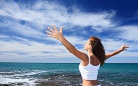 Картинка море, радость, счастье, отдых