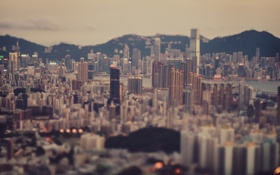Обои city, город, дома, небоскребы, мегаполис, тилт шифт, Tilt shift
