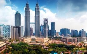 Обои здания, панорама, небоскрёбы, Малайзия, Kuala Lumpur, Malaysia, Куала-Лумпур