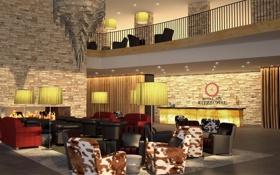 Обои отель, лампа, кресло, дизайн, интерьер, люстра